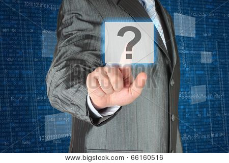 Businessman pushing virtual question button