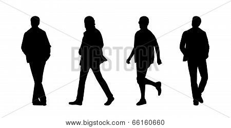 People Walking Outdoor Silhouettes Set 12