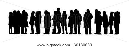Long People Queue Silhouette Set 1