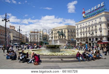 MADRID, SPAIN - MAY 28, 2014: Madrid city centre, Puerta del Sol square one of the famous landmarks