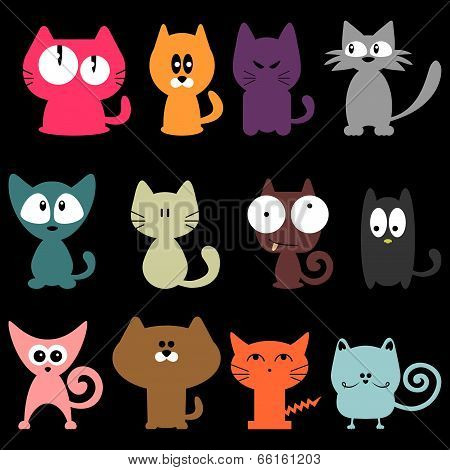 Set Of Various Colorful Funny Cats