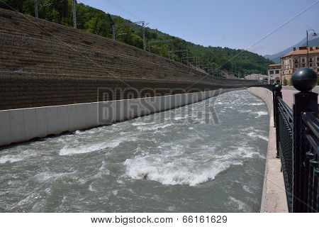 River With A Reinforced Bank