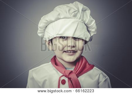 healthy child dress funny chef, cooking utensils