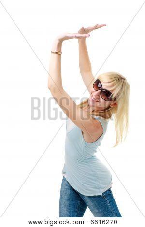 Woman Pushing Something Up