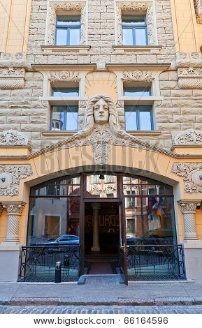 Portal Of Hotel Neiburgs In Riga, Latvia