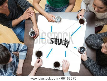The word study on page with people sitting around table drinking coffee