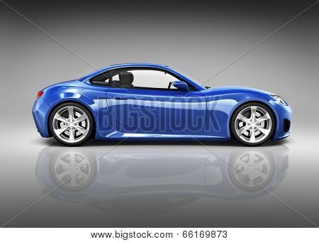 Luxury Blue 3D Sports Car