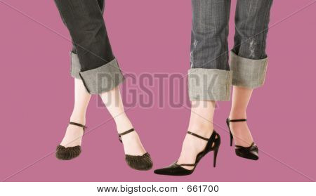 Trendy Feet With Blue Jeans And Leather Shoes