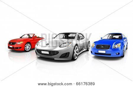 Group of 3D Elegant Cars