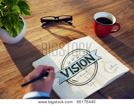 Businessman's table with Vision Concept