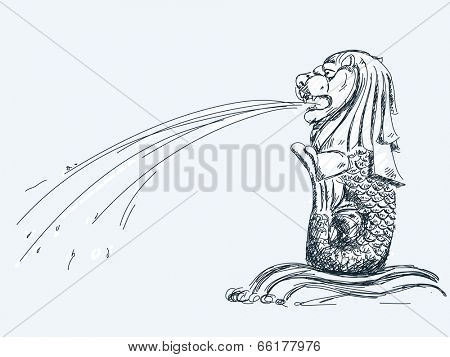June 05, 2014: Merlion fountain in Singapore. Hand drawn sketch. Vector illustration.