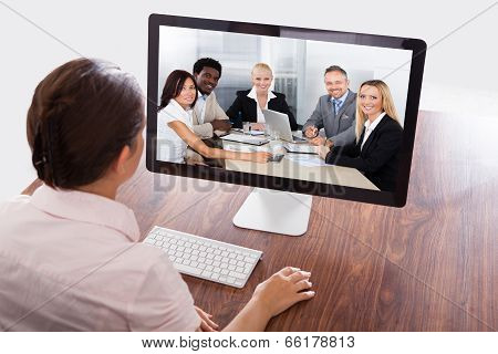 Businesswoman Watching An Online Presentation