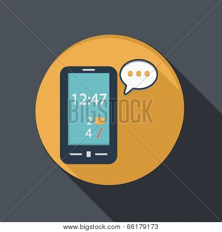 Smartphone With Cloud Of Speaking Dialogue