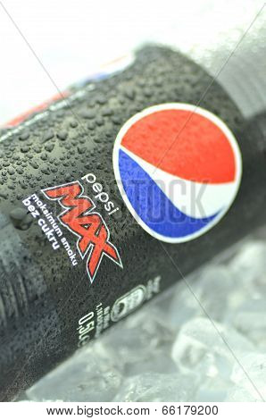Bottle of Pepsi Max drink on ice cubes