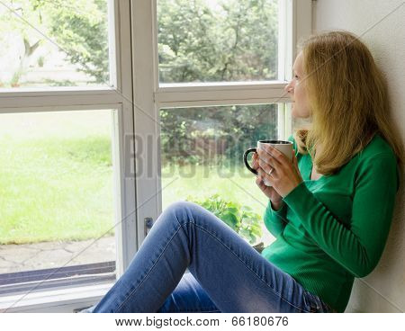 Broken Heart Girl Sit On Window Sill Drink Coffee