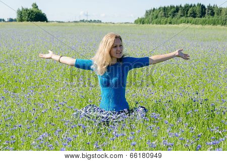 Woman Enjoying Nature In Harmony Cornflower Meadow