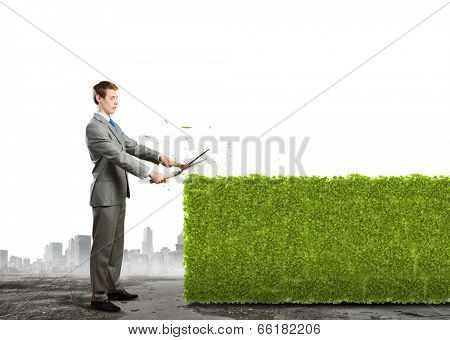 Young handsome businessman cutting green lawn. Greenery concept