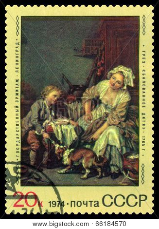 Vintage  Postage Stamp. Spoiled Child, By Jean Greuze.