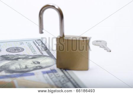 Dollar bill with padlock