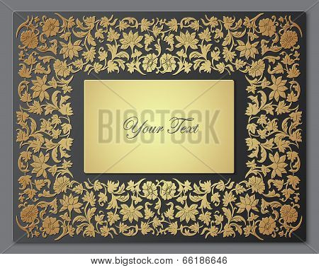Save the Date Floral Card.  Border Frame .