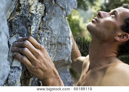 Man climbing on limestone