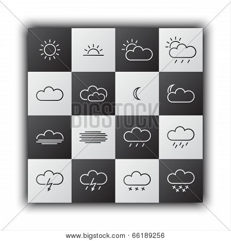 Simple weather icons black and white flat design