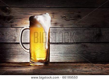 High Foamy Mug Of Light Beer