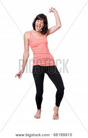 Happy Barefoot Young Woman Dancing