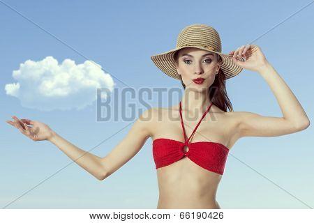 Red Bikini Summer Hat