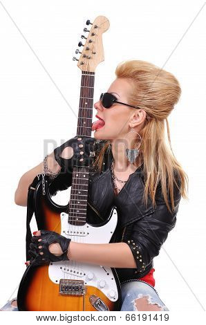 Girl Licking Guitar