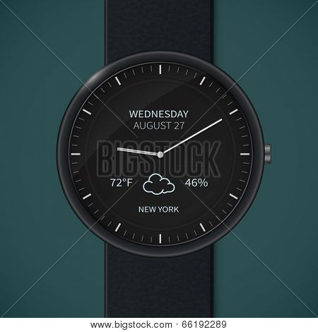Smartwatch interface template. Vector illustration