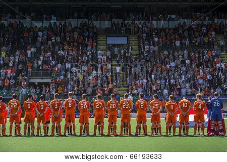 THE HAGUE, NETHERLANDS - JUNE 1: The Dutch hockey team is lined up for the anthem during the Hockey World Cup 2014 (men)