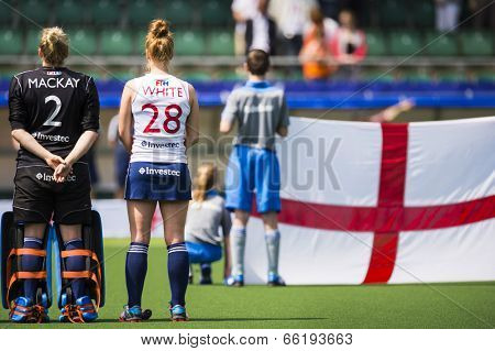 THE HAGUE, NETHERLANDS - JUNE 1: The English hockey team is lined up with their flag during the Hockey World Cup 2014 (woman)