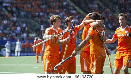 THE HAGUE, NETHERLANDS - JUNE 1: Dutch players celebrating a goal during the Hockey World Cup 2014 in the match between The Netherlands and Argentina (men). NED beats ARG 3-0