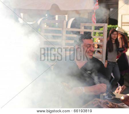 Grilling in smoke from Applebee's