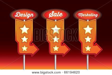 vector illustration of various orange signs on coloured backgorund
