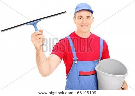 Male window cleaner holding a bucket isolated on white background