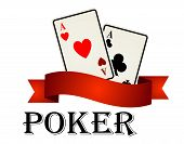 Постер, плакат: Poker emblem with cards