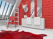 image of deer head  - Striking red and white bathroom interior in a sloping room with a deer head mounted on the wall - JPG