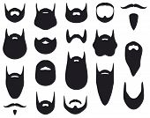 stock photo of shaved head  - Set of beard silhouettes vector illustration on white background - JPG
