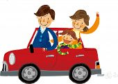 stock photo of hanbok  - The view of family in the car - JPG