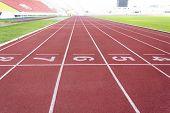 stock photo of relay  - Running tracks for athletic in outdoor stadium - JPG