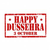 image of dussehra  - Grunge rubber stamp with text Happy Dussehra - JPG