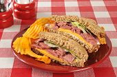 picture of home-made bread  - A home made roast beef sandwich on sprouted nut and seed bread - JPG