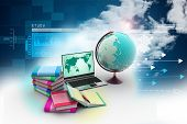 pic of education  - 3d Education concept in attractive color background - JPG