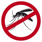 stock photo of gnats  - stop mosquito sign vector illustration on white background - JPG