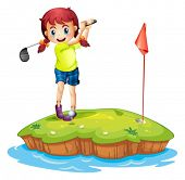 stock photo of ladies golf  - Illustration of an island with a girl playing golf on a white background - JPG