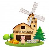 stock photo of barn house  - Illustration of a playful pig outside the wooden barn house with a windmill on a white background - JPG