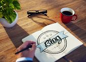 image of handwriting  - Businessman Brainstorming About Blogging - JPG