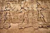 stock photo of pharaohs  - Hieroglyphic of pharaoh civilization in Karnak temple - JPG